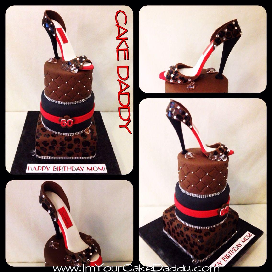 Excellent 3 Tiered Leopard Print Birthday Cake With Red Bottom Stiletto On Funny Birthday Cards Online Kookostrdamsfinfo