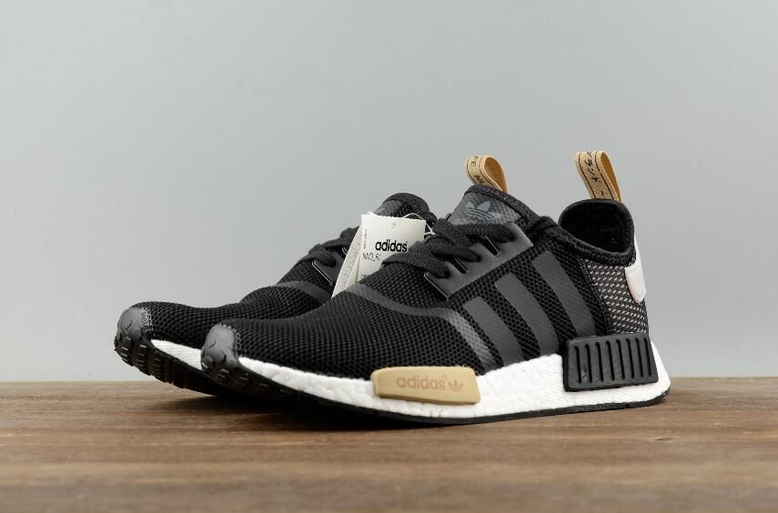 718f087ca Adidas Original NMD R1 BA7751 Black Khaki Real Boost Walking Sneakers 8