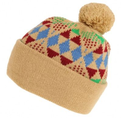 db984ae2f3e Bobble Hat Diamond Patterned Beige - Vintage clothing from Rokit - wooly hat