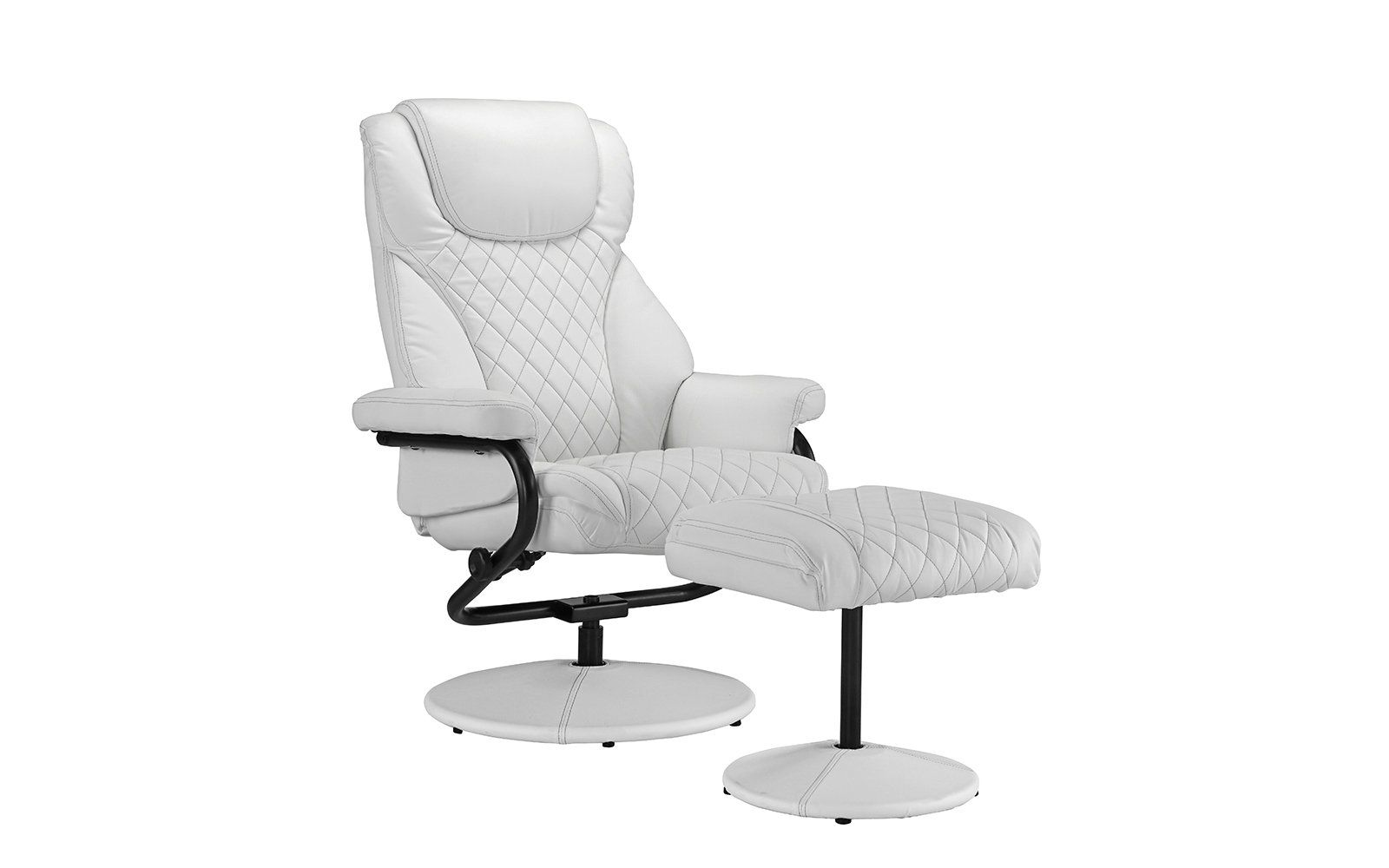Office Swivel Chair With Footstool Faux Leather Reclining Executive And Gaming Chairs White Be Used Office Chairs Lounge Chairs Living Room Chairs For Rent
