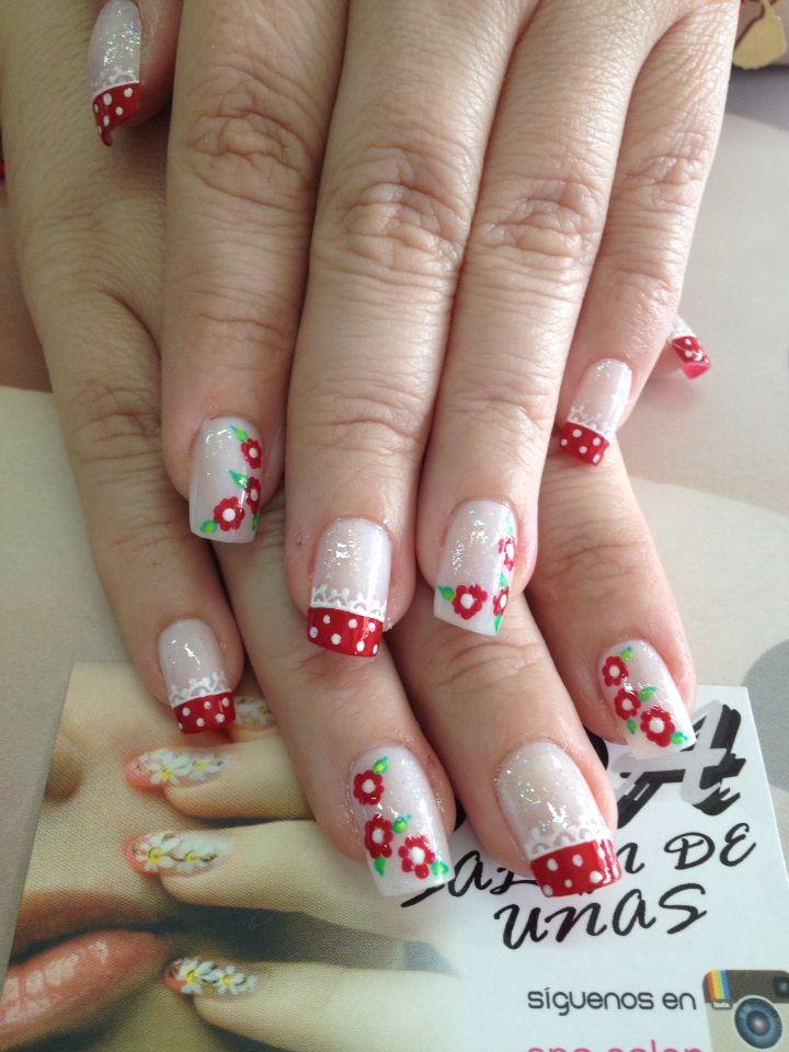 Uñas flores rojas | Uñas diseños flores fáciles | Pinterest | Nail ...