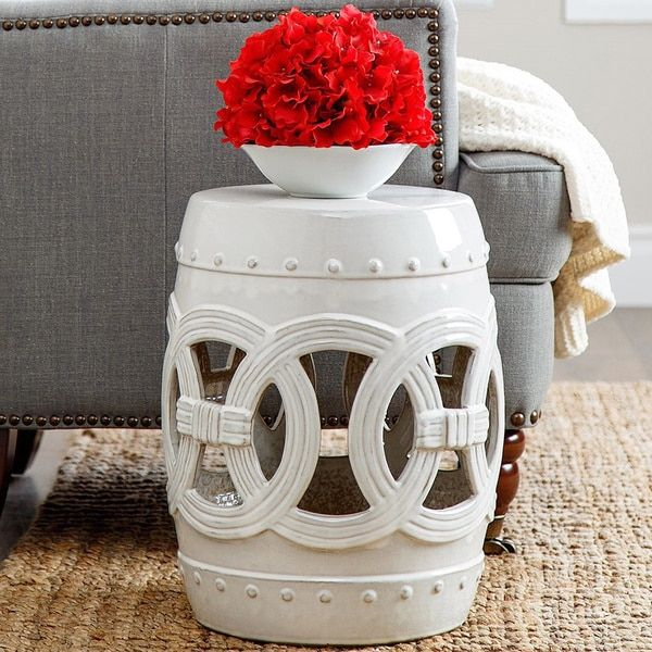 Abbyson Moroccan White Ceramic Garden Stool | Overstock.com Shopping   The  Best Deals On
