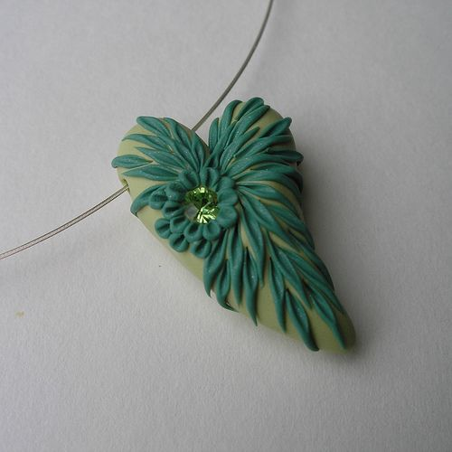 Spring Green Heart Necklace by Laurabee Studio, via Flickr