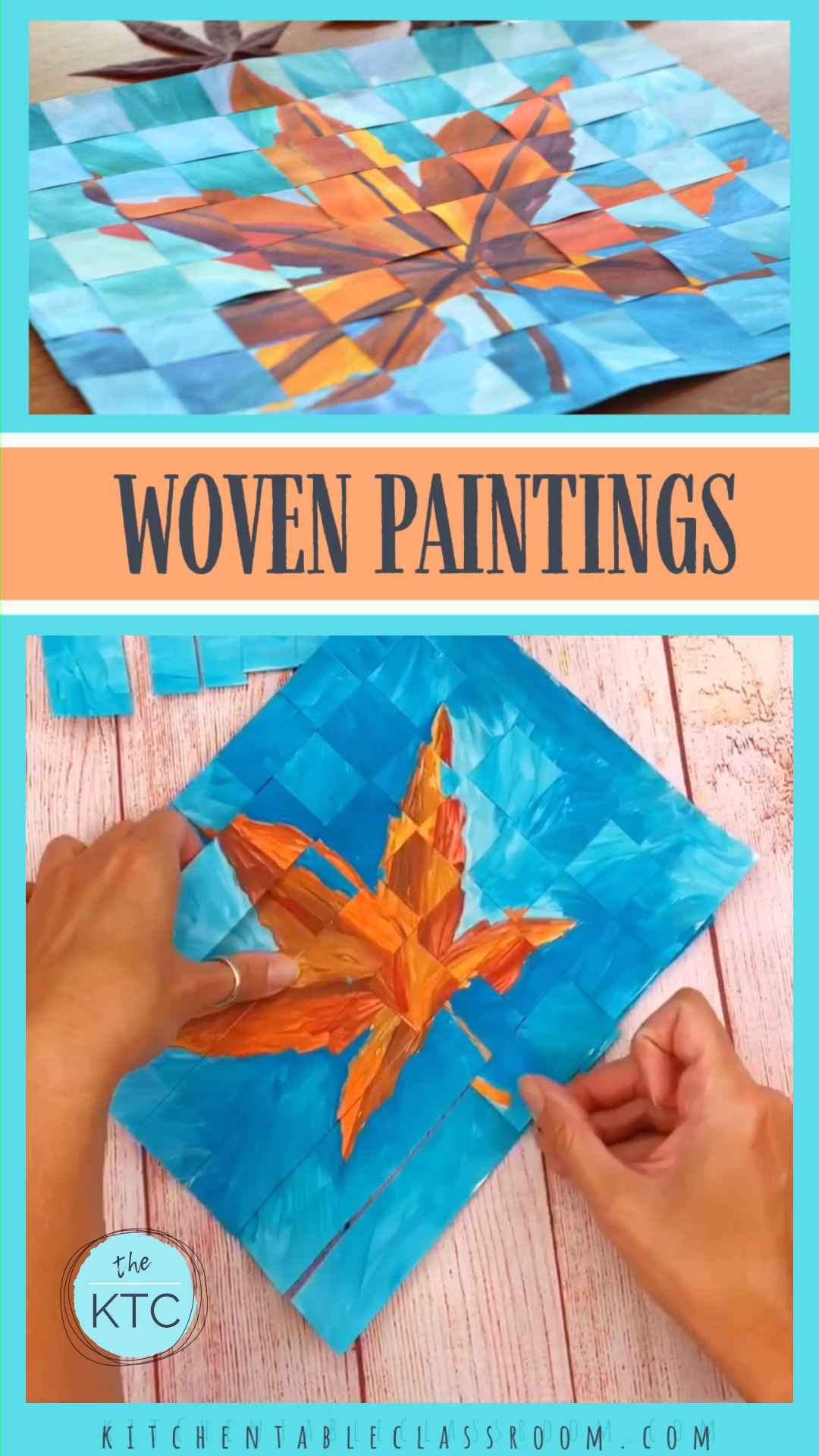 Paint two similar paintings and weave them together.  Practice basic weaving skills and create a finished work of art that wows!  #weavepaper #papercrafts #artprojectsforkids #craftsforkids