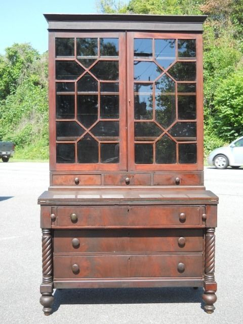 Antique Mid 1800s Tall Secretary Desk Wavy Gl 1830s To 40s Virginia