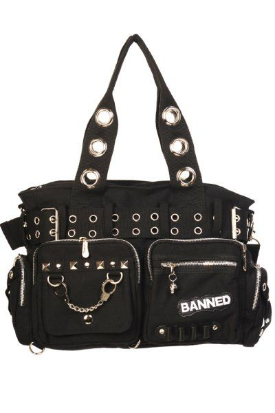 2615419287907d Black Shoulder Bag with Handcuffs & Studs | Gothic Bags | Bags ...