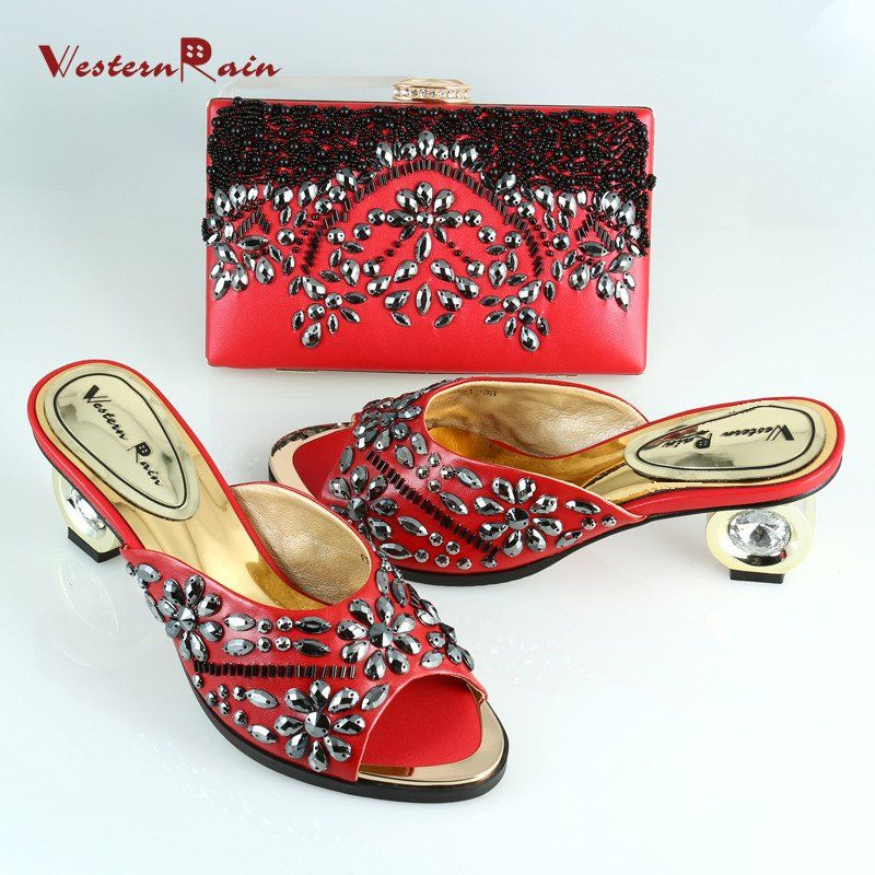 SeePretty 2017 Newest Red Paintings Shoes Matching Bag