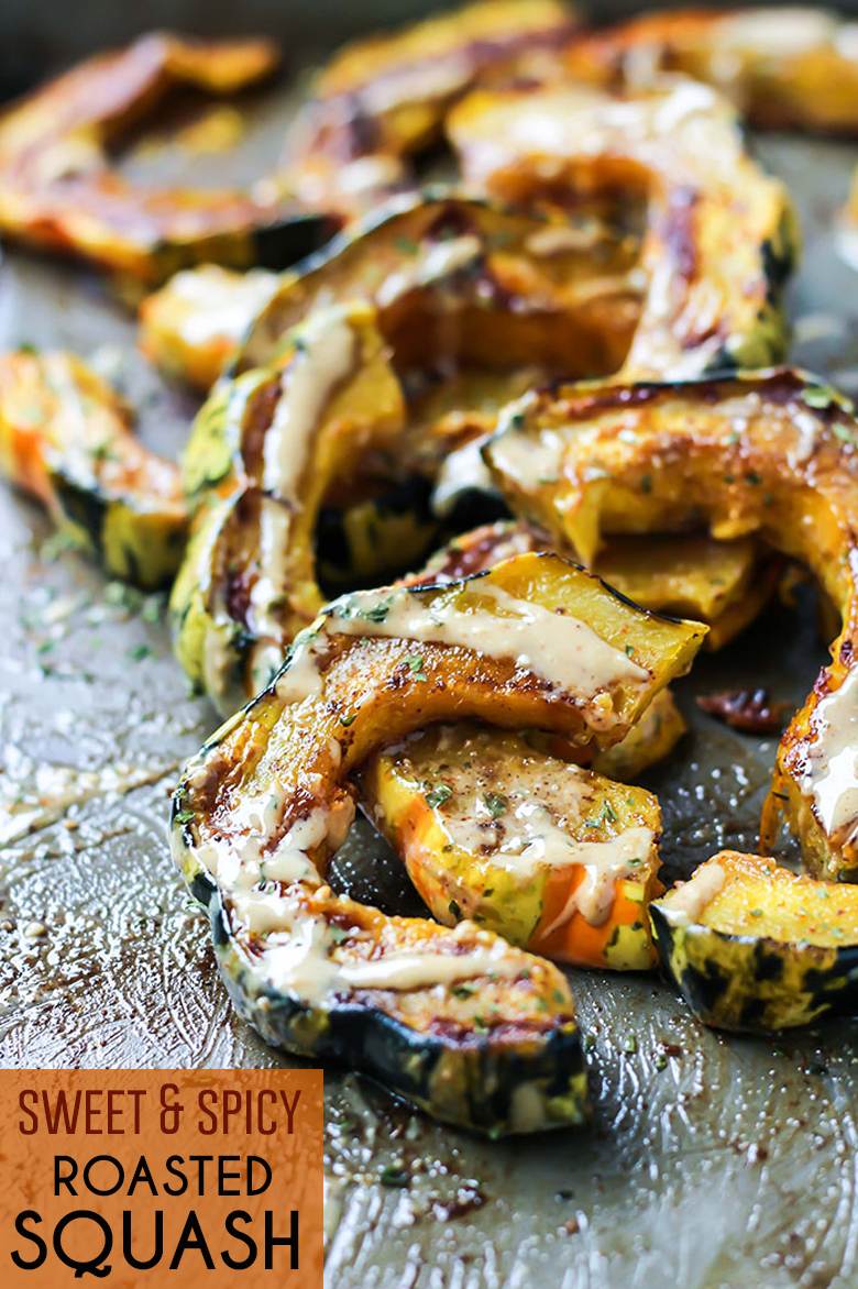 This Sweet & Spicy Roasted Squash is the perfect side dish to your favorite easy meal. Just a few simple ingredients, ready in about 40 minutes. Vegan and paleo-friendly!