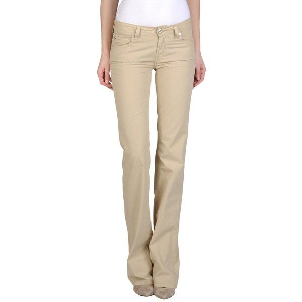Jacob Cohёn Casual Trouser ($45) ❤ liked on Polyvore featuring pants, khaki, brown khaki pants, cotton pants, bootcut khaki pants, boot cut pants and wide leg cotton pants