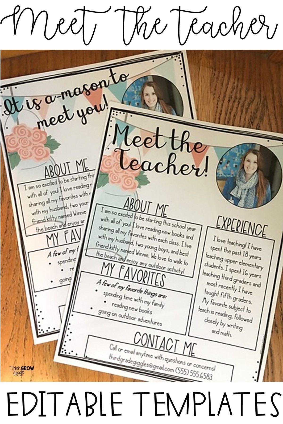 Meet the Teacher | EDITABLE Templates Mason Jars #meettheteachernight