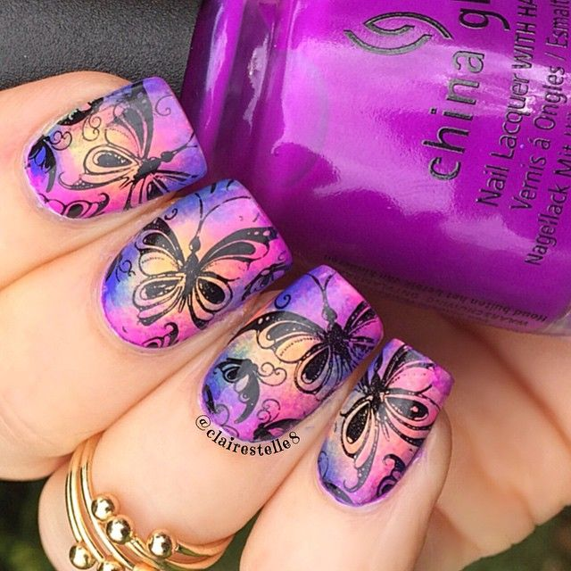 clairestelle8 - China Glaze Electric Nights Collection for the base ( I'm holding Violet Vibes) and stamped with Uber Chic UC 1-02 stamping plate