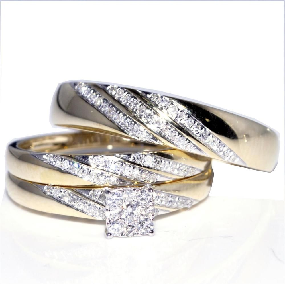 His And Her Trio Wedding Rings Sets 2 30 Ct Round Diamond 10k Yellow