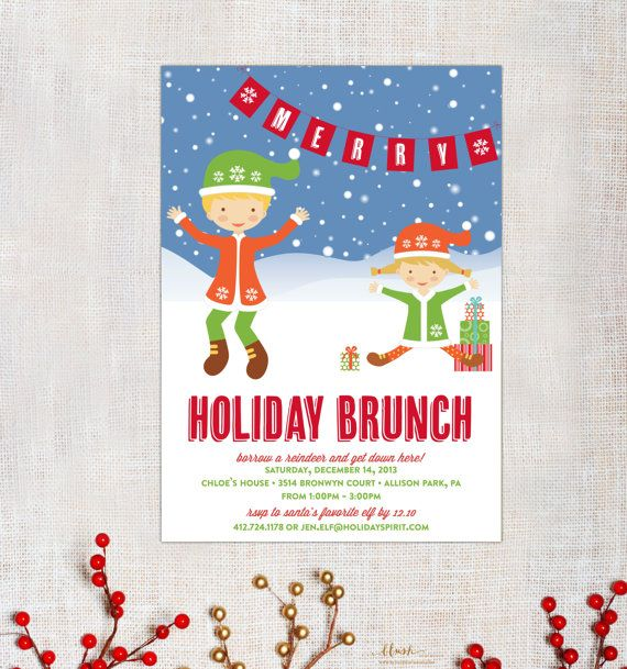 Magical Elf Christmas Brunch Party Invitation by blushprintables