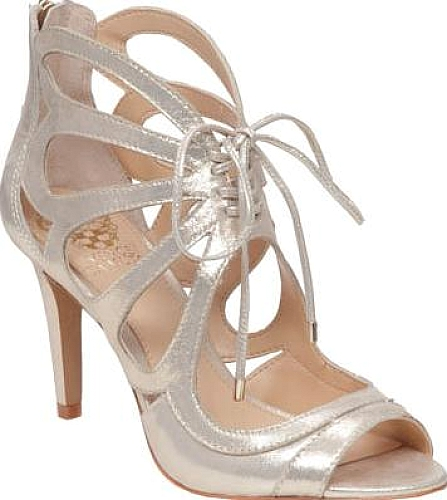 0f6f7c7ba68f Vince Camuto Women s Shoes in Champagne Powdered Glitz Suede Color. The  Calivia is a darling heeled sandal with a butterfly tie-up cage silhouette.