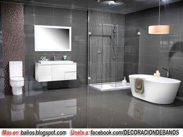 Ba os en tonos grises bath ideas pinterest ba os - Baldosas banos modernos ...