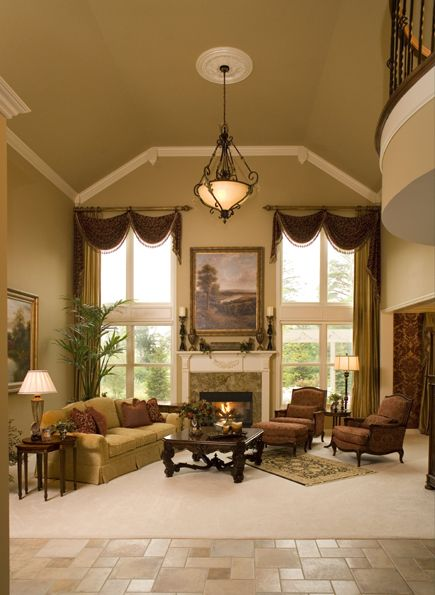 This living room combines traditional and transitional design styles.