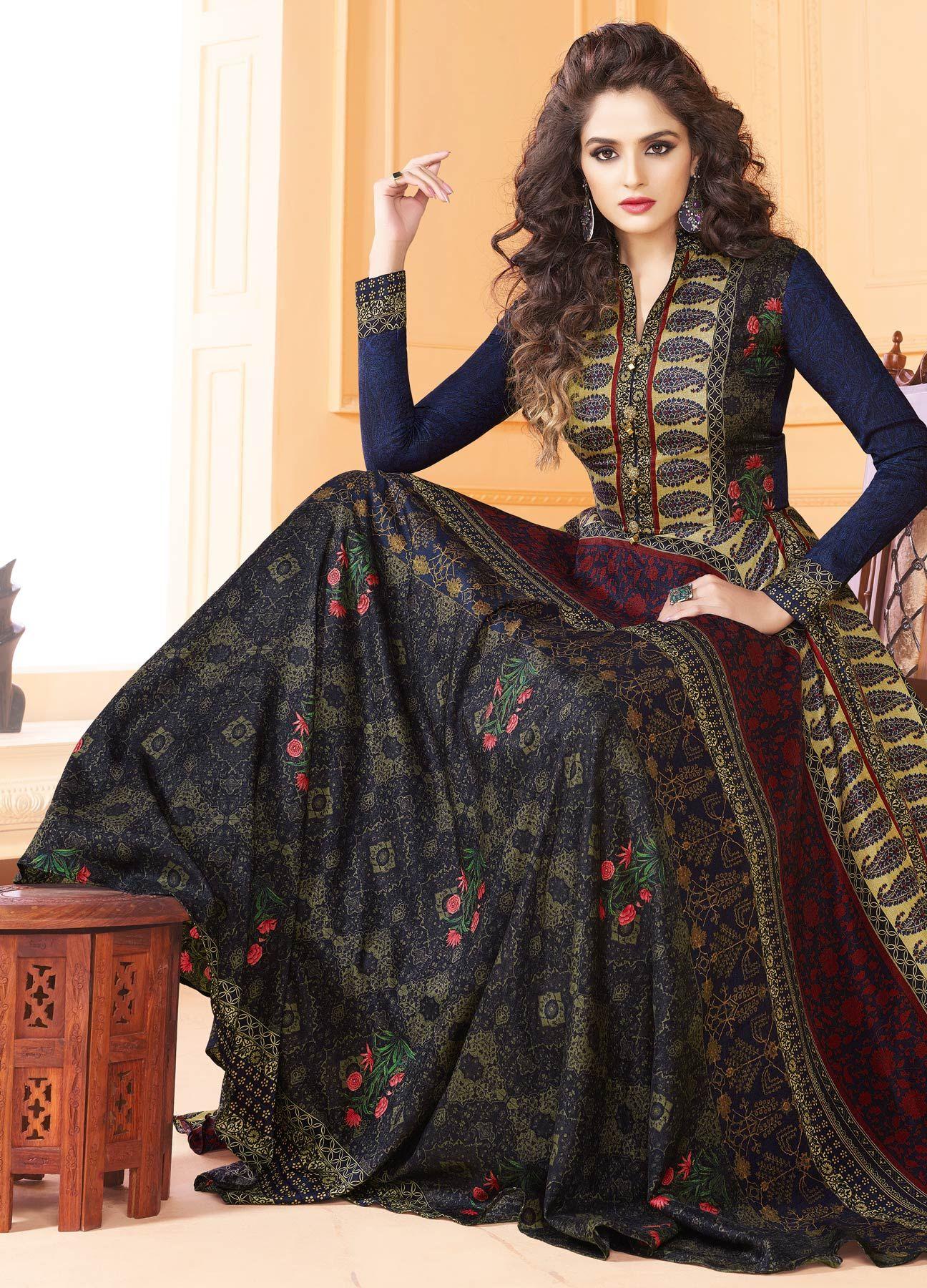 ca296a08c35 Elegant Multi Colored Partywear Digital Printed Tussar Art Silk Gown ...