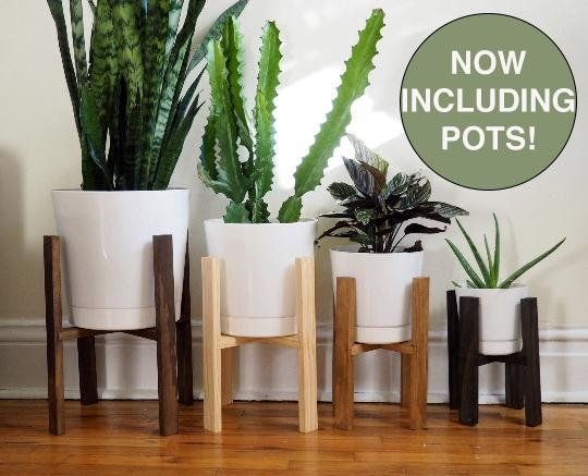 Mid Century Modern Plant Stand Wooden Indoor 6 8 10 12 Pots Minimalist Planter Retro