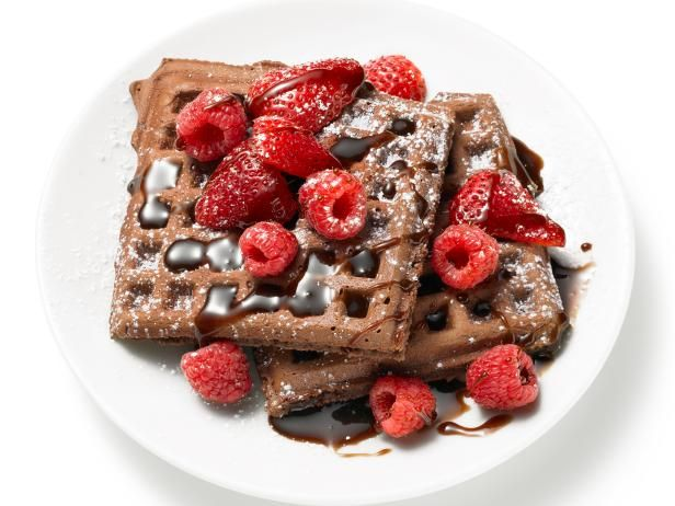Surprise Mom with a breakfast in bed starring these over-the-top Chocolate Waffles from #FNMag.  #RecipeOfTheDay