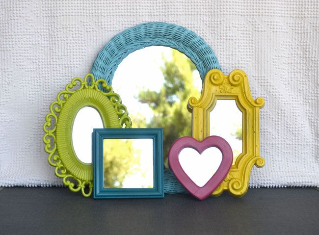 Bright Painted Mirror Set of 5 - Upcycled Mirrors.. great for Gallery Wall/ Playroom or Teen Girl Kids Bedroom. $62.00, via Etsy.