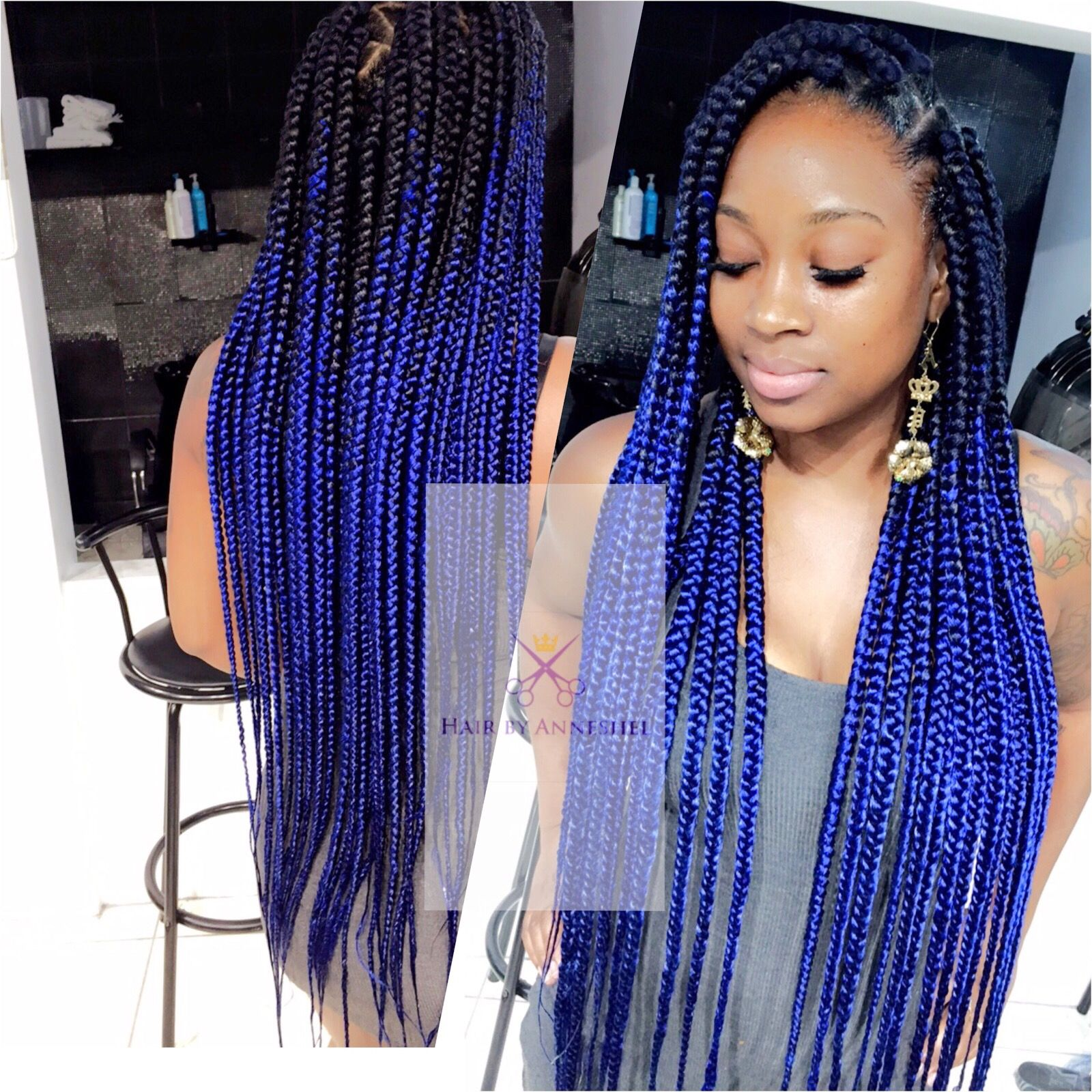 Pin By Hair By Anneshel On Braids With Images Blue Box Braids