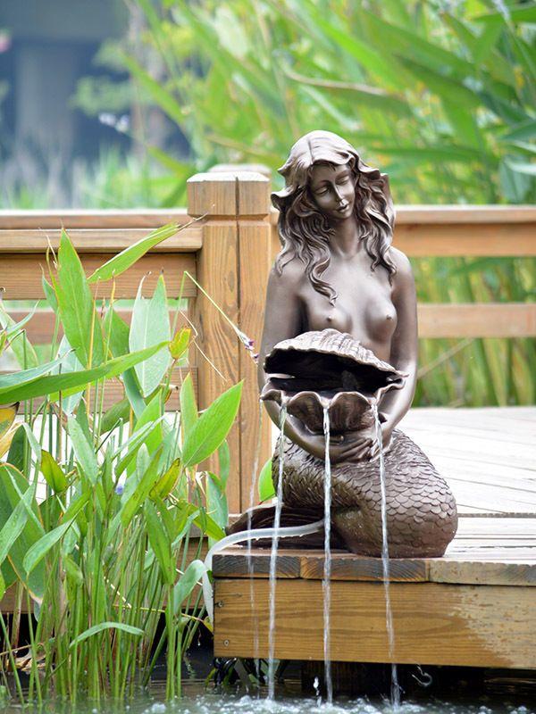 Large Garden Water Fountain Sculpture Mermaid 5w Solar Pump Salon