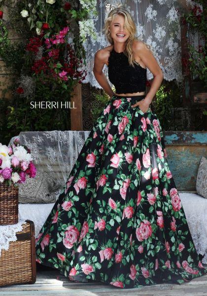 Vestidos de fiesta negro con flores
