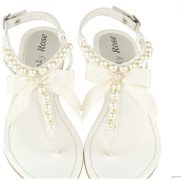 084a4b88ad275 Fashion Pearl Embellished Flat Sandal White found on Polyvore ...
