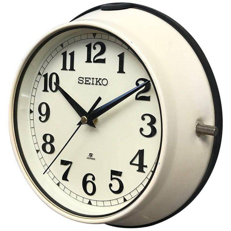 1970s Green Seiko Retro Vintage Industrial Antique Steel Quartz Wall Clock Cream At 1stdibs Antiqued Steel Clock Wall Clock