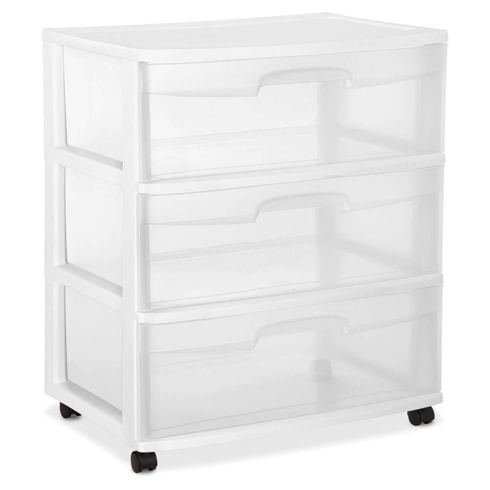5 Drawer Tower Organizer Plastic Storage Cabinet Office Bin White
