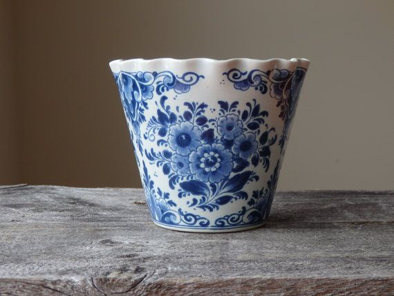 Vintage Flower Pot Delft Pot Blue And White By