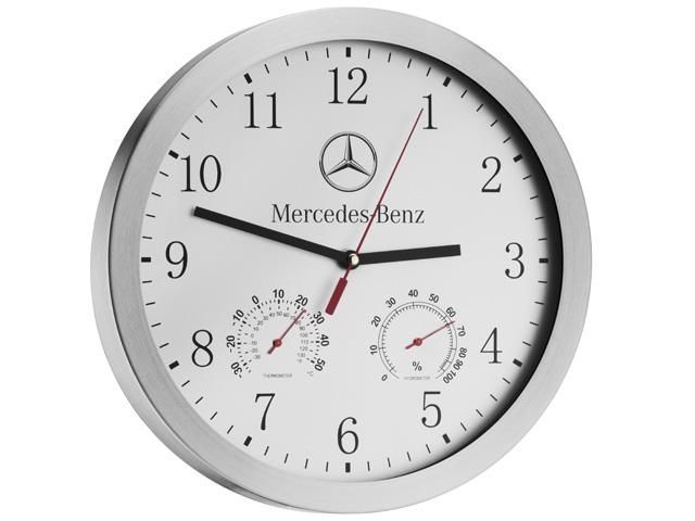 original mercedes wanduhr wandfunkuhr funkuhr thermometer hygrometer 30cm neu in uhren schmuck. Black Bedroom Furniture Sets. Home Design Ideas