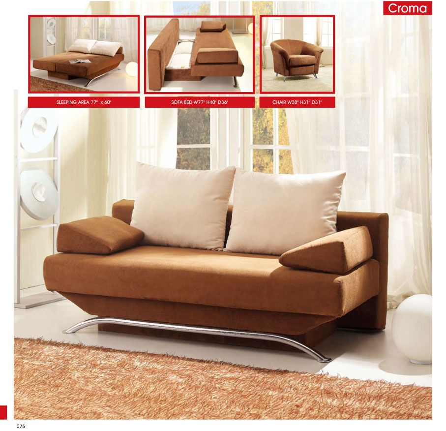 Living Room Furniture Sofa Beds Croma Brown
