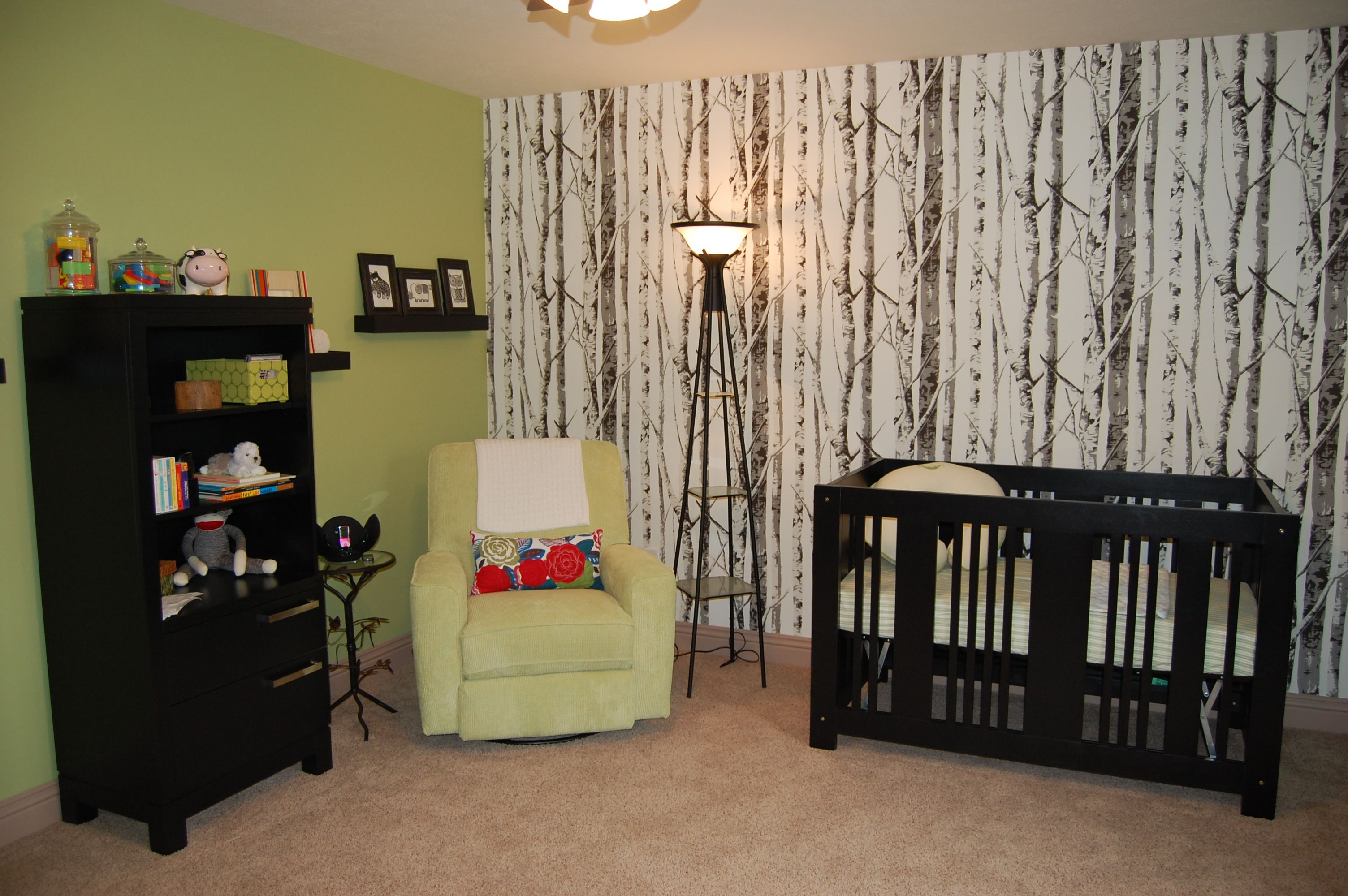 My daughter's nursery. I love the birch tree wallpaper