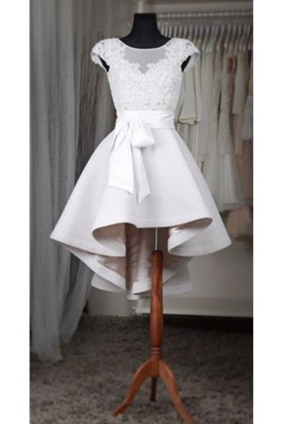 White Lace Short Homecoming Dress For Teens,Classy Short Sleeves Homecoming Dresses White Belt,128 from Happybridal
