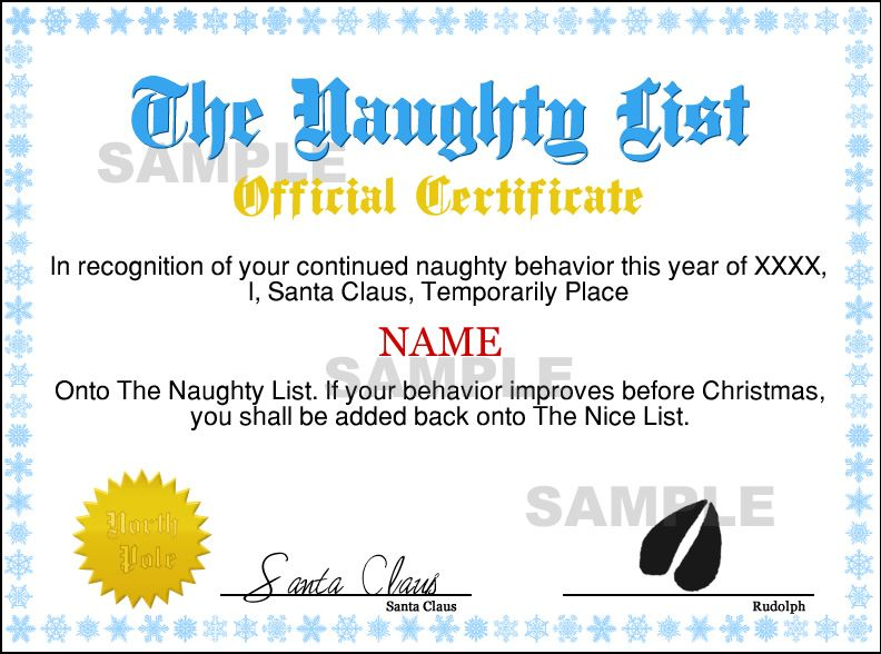 santa NAUGHTY LIST CERTIFICATES Instant Naughty Certificate - gift certificate letter template