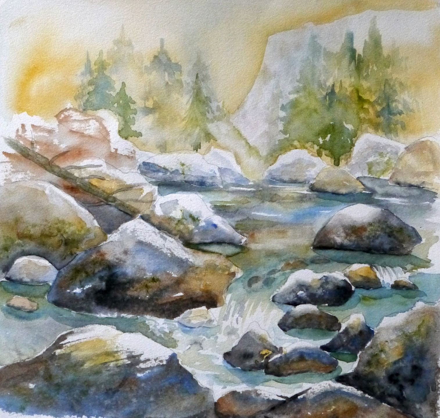 Peinture contemporaine tableau torrent de montagne for Peinture contemporaine