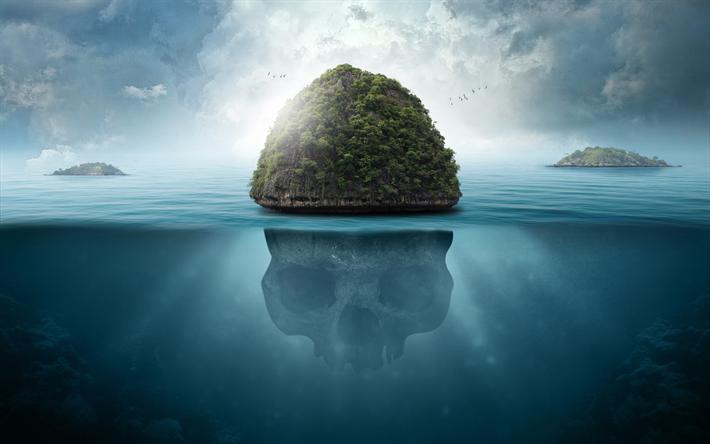 Download Wallpapers Island 4k Underwater World Skull Sea
