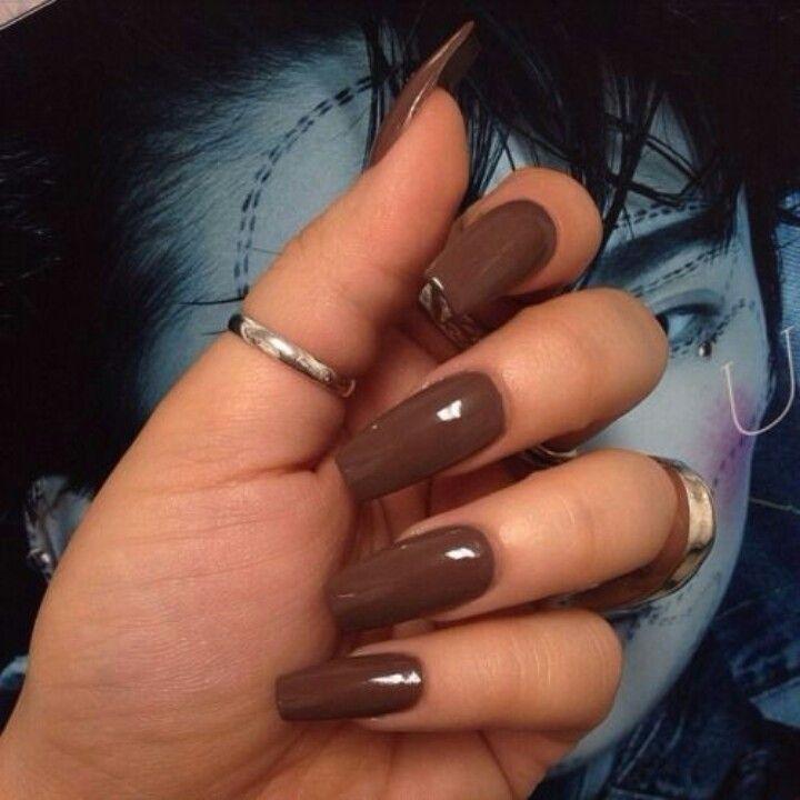 Brown Square Tip Acrylic Nails Long Nails Brown Nails Pretty Nails