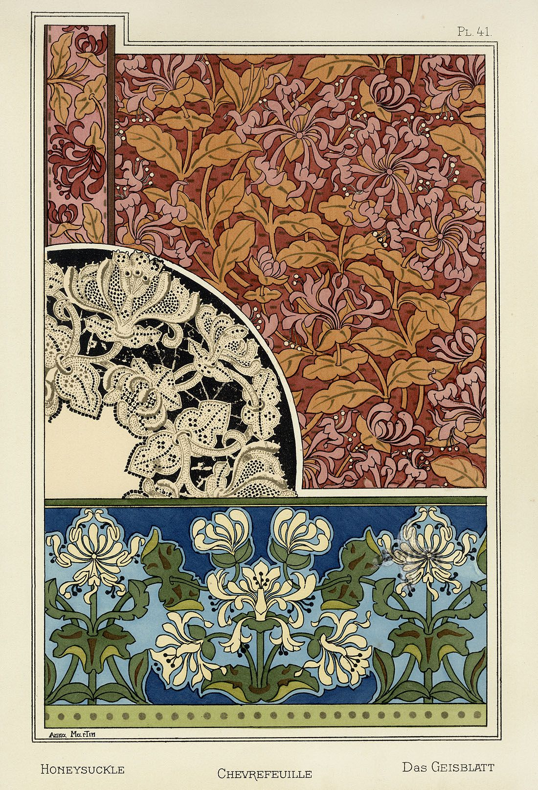 Pochoir Frise Arabesque Eugene Grasset Pochoir Prints 1896 Honeysuckle Art Deco In 2019