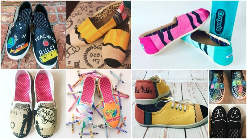 bbbfe1a8afa13 22 Adorable DIY Painted Shoes for Teachers | Outfits | Painted shoes ...