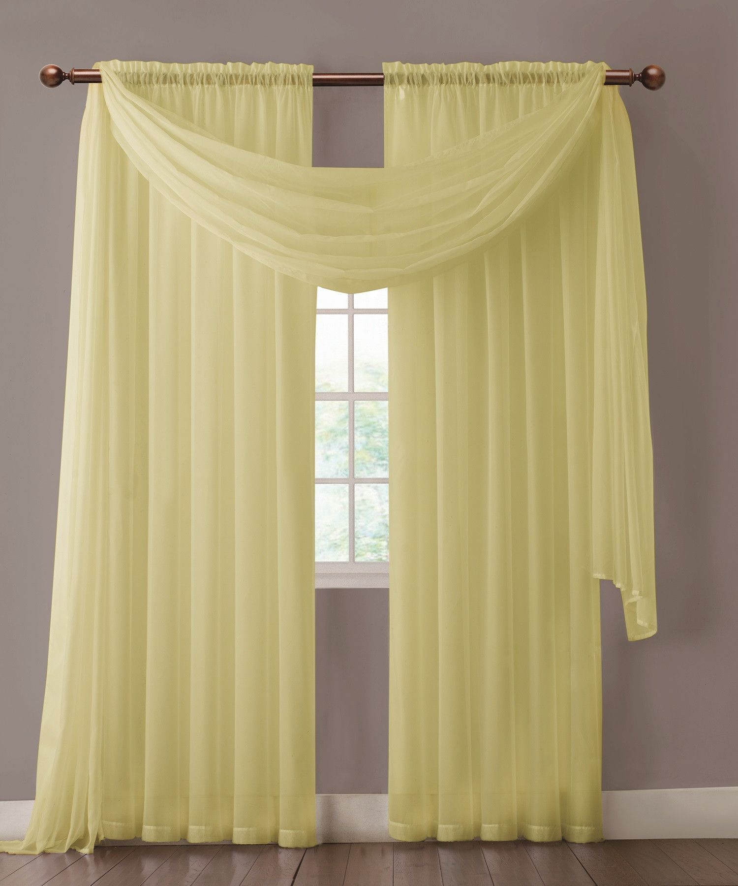 Warm Home Designs Pair Of Light Yellow Sheer Curtains Or Scarf