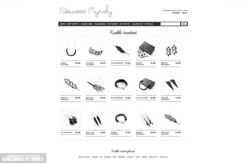 Graphic design, website and web store for Nouseva Myrsky company.  #olbedesign #webdesign #graphicdesign #ui #mycashflow #webshop #store #rubber #silver #jewellery #handmade #usedmaterials