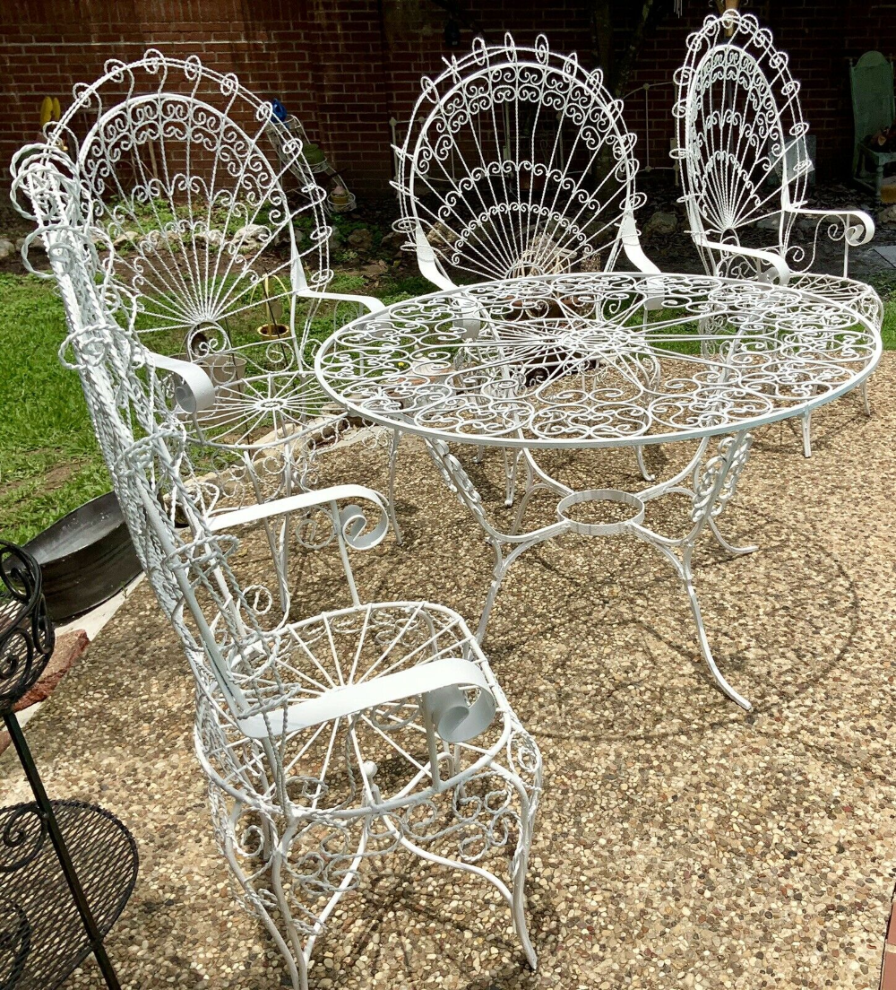 Used Wrought Iron Peacock Patio Set For Sale Compare Prices Craigslist Shoppok Ebay Amazon And More In 2020 Wrought Iron Furniture Wrought Iron Outdoor Furniture Iron Furniture Outdoor