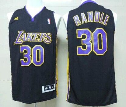 5a77d9bb166 Los Angeles Lakers #30 Julius Randle Revolution 30 Swingman Black With  Purple Jersey