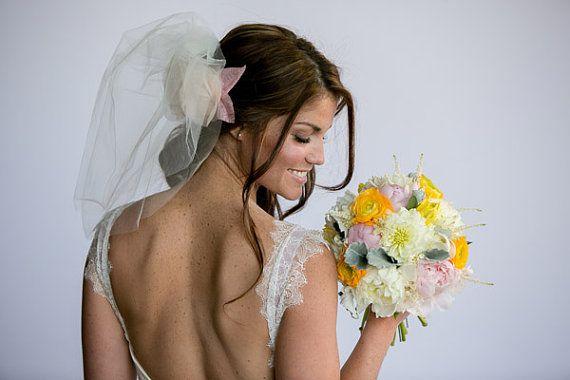 Tulle Blusher Veil - Ivory Tulle Bridal veil, wedding veil, blusher veil, short veil, shoulder length