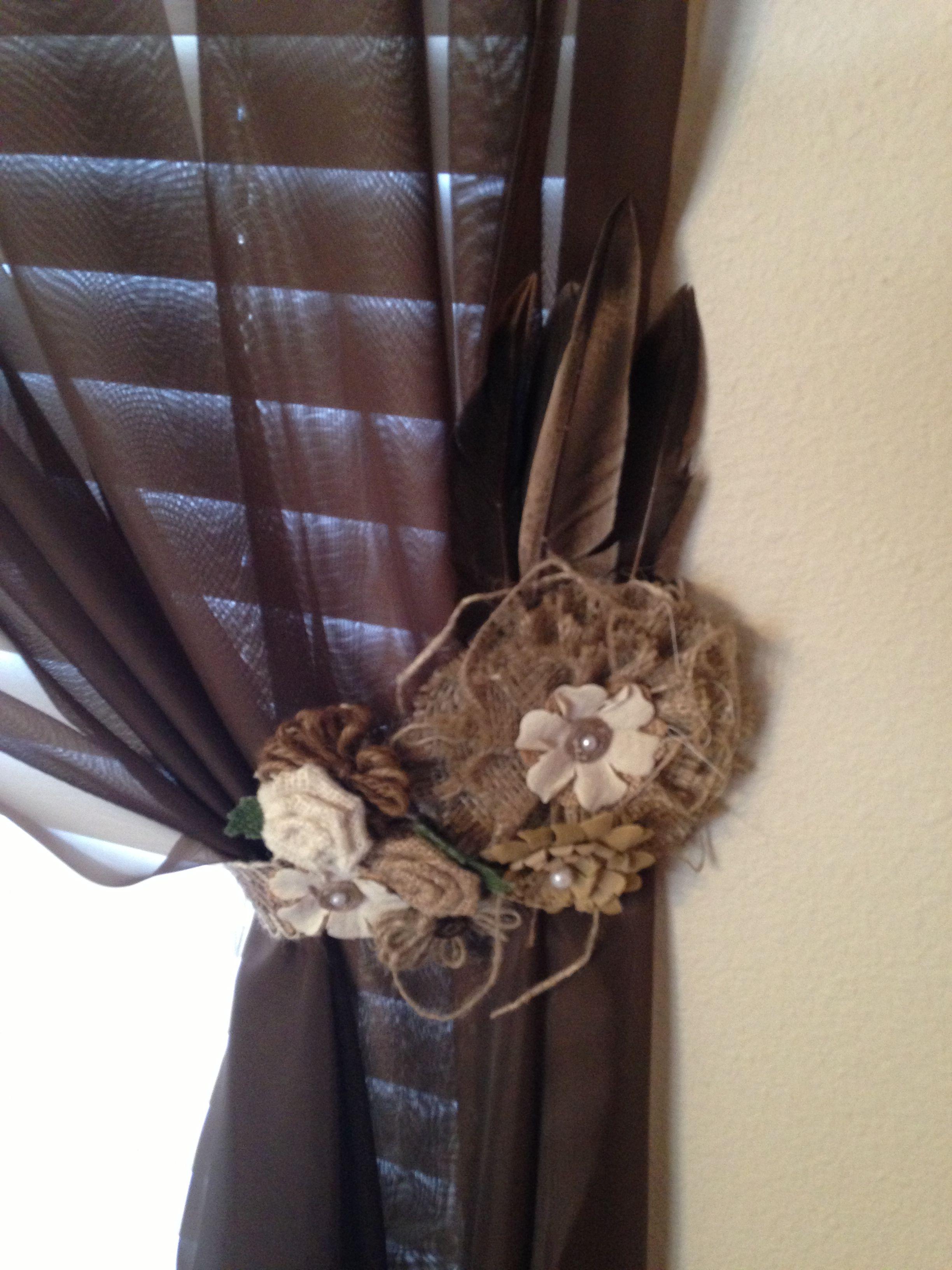 Curtain Tie Back Created With The Help Of Hobby Lobby Curtain