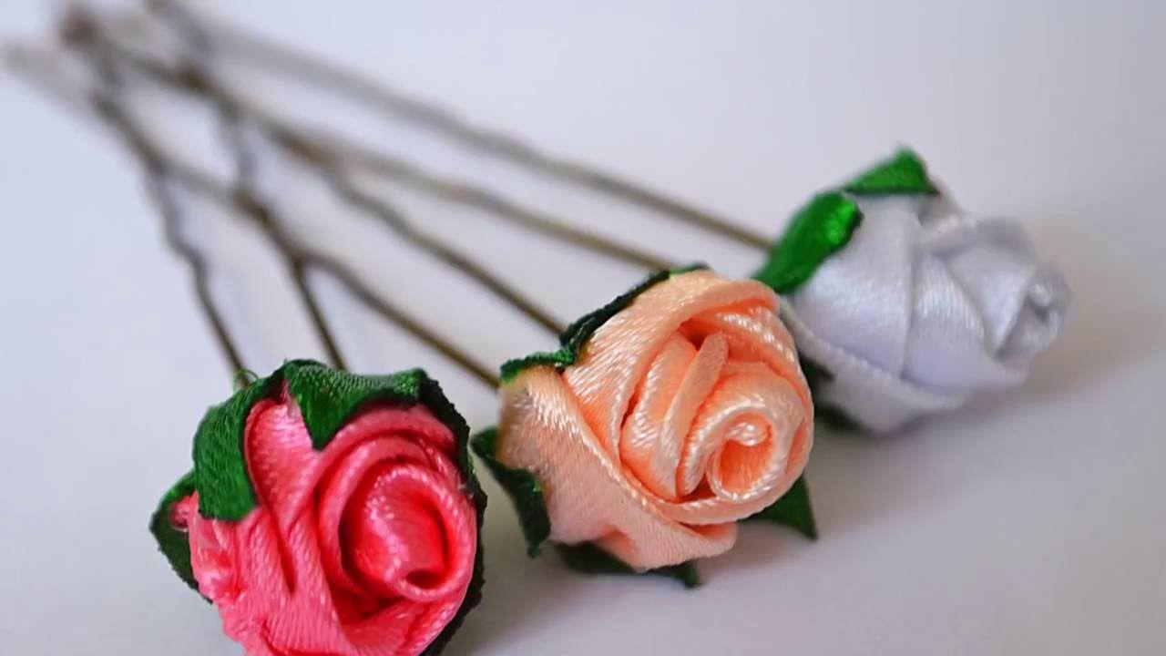 Шпильки для волос с розами  Канзаши