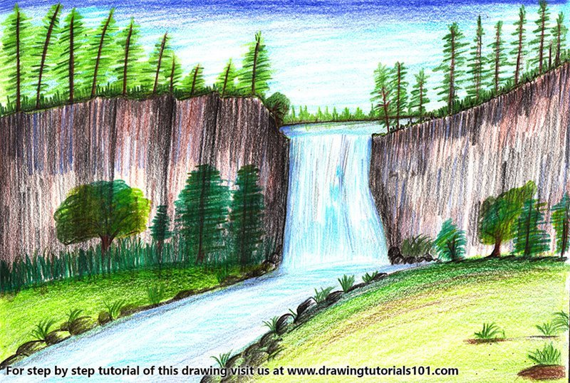 Learn How To Draw A Beautiful Waterfall Waterfalls Step By Step Drawing Tutorials Waterfall Drawing Beautiful Scenery Drawing Easy Scenery Drawing
