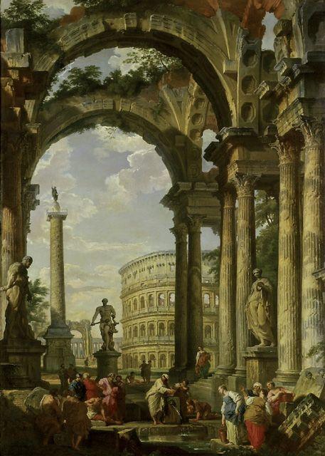 CAPRICCIO OF ANCIENT ROMAN RUINS ITALY PAINTING ART REAL CANVAS GICLEEPRINT